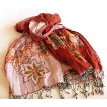 Hímzett kendő - rózsaszínnel